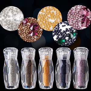Crystal Micro Nail Pixie Beads Sharp Bottom Diamond Gravel Colorful Nail Art Glass Caviar Beads For Nails 3D Decorations
