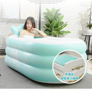 Aufblasbare faltbare portable Hausbadewanne Badewanne für Erwachsene, um den ganzen Körper Single1 zu verdicken und aufzuwärmen