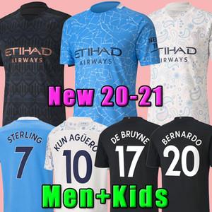 20 21 City Soccer Jersey 2020 2021 رجل الاسترليني لكرة القدم قميص مانشستر كون اغويرو دي بروين جيزوس برناردو ماخريز رودريغو الرجال + أطفال كيت