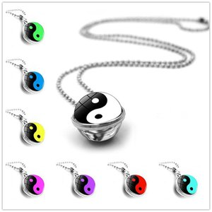 2020 New Fashion Jewelry Yin and Yang Necklace Double Sided Crystal Glass Ball Pendant Christmas Gift Drop Shipping
