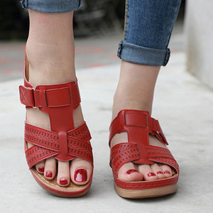 2020 Летняя Женщины Премиум ортопедический Open Toe Сандалии Vintage против скольжения дышащая кожа Повседневная женщина платформы ретро Обувь C1011