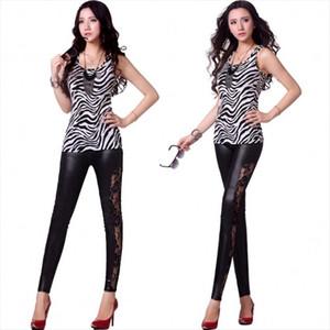 Legins Punk Gothic Fashion Women Leggings Sexy PU Leather Stitching Embroidery Hollow Lace Legging For Women Leggins 20002