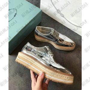 Derbies da donna Bassa Derbies Sneaker Suola di paglia LeatherLuxurys Designer Sneakers Sneakers Trainer Runner Lace-UPS Altezza Scarpe in aumento TX1183