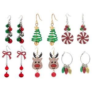 Natal sinos de árvore cervo cabeça chifre brincos mulheres stud brinco quadrado quadrado coreano brincos de natal prisioneiro brinco casamento