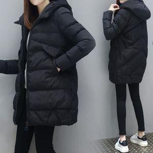 ZITY Women Fashion Long Parkas Winter Down Cotton Jacket Coat Lady Leisure Style Jacket Pocket Hooded Warm Coats