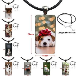 Jack Russell Terrier Dog For Women Christmas Gift Design Fashion Vintage Glass Women Rectangle Necklace Pendants