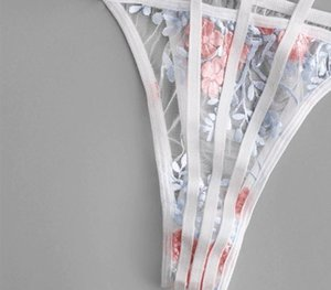 ADULOTY цветка шнурка Вышитые Caged Bralette белье Установить Новый сексуальный бюстгальтер Transparent сетки женское нижнее белье Пижамы и Thong99