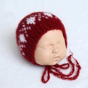 크리스마스 모자 신생아 니트 모헤어 보닛 사진 소품 크로 셰 푹신한 폼은 폼은 보닛 아기 사진 소품