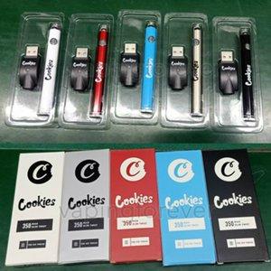 Las cookies SF Delgado Gira Vape batería 350mAh baterías de fondo Cigarrillos Spinner 3.3-4.8V precalentamiento E Vapes Para Atomizadores 510 cartuchos