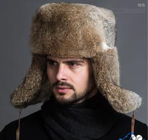 Classic Faux Fur Men's Winter Hat Fall Winter Lei Feng Hat Warm Thickened Faux Rabbit Fur Ear Cap nbn