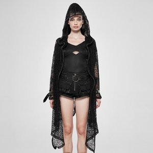 PUNK RAVE Kadın Steampunk Gotik Net Hırka Casual Gevşek Kapşonlu Kişilik Uzun Ceket Kaban