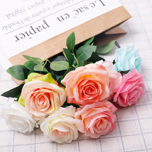 Simulation Single Rose Flower Girl Friend Rose Gift Silk Fabric Valentine Day Rose Wedding Bride Holding Flower Bouquets Decoration WQ624