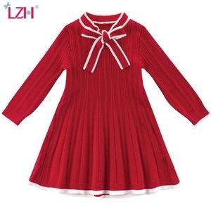 LZH Toddler Girls Sweater Robe Automne Hiver Enfants Décontractés Tricot à manches longues Robe de princesse Pour Fille Red Enfants Vêtements 201029