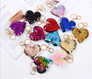 Sequin Heart Keychain Colorful Love Heart Pendant Charm Keychains Valentine's Day Gift for Party Decaration Supplies DB483