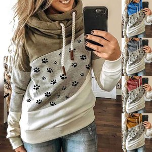 Women's claw print stitched Hooded Fleece loose sweater in autumn   winter 2020727