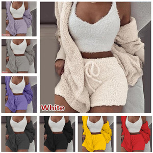 INS Winter Fleece Pajamas Set Women Homewear Long Sleeve Coat Outwear + Sleeveless Vest + Shorts 3 Piece Outfits Soft Plush Sleepwear Suit