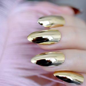 Light Gold Stiletto Nails Metal Mirror Design Kit Medium Full Cover False Nail Tips Women Daily Wear Manicure Product N29