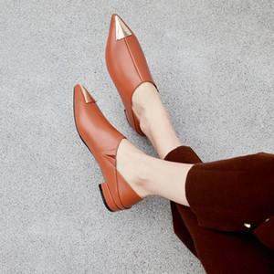 PXELENA Femmes talons bas Chaussures en cuir Slip réel sur Toe Pointu Décor Métal 2020 Spring Marque Nouveau Leahter véritable Pompes souple Cozy
