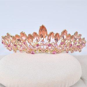 Moda New Peach Color Wedding Hair Tiara para la novia Crystal Rhinestones Mujeres Party Crowns Vestido de novia Accesorios Peine Tiara J0113