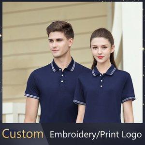 Black Polo Shirt for Man Summer Short-Sleeved Team Work Clothes T-shirt Men Women Unisex POLO T-shirt Custom Embroidery Print Logo