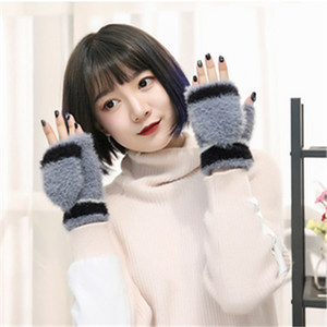 Flip Cover Type Fingerless Glove Fixable Button Knitting Keep Warm Children Expose Finger Gloves Students Winter Half Fingers Mitts 5 3jd L2