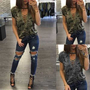 New 2020 Womens Ladies Summer Camouflage Short Sleeve Loose T Shirt Casual V neck Bandage Shirt Tops