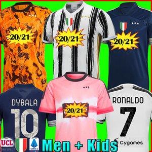 Fãs Versão do Jogador Juventus camisa de futebol camisa de futebol 2020 2021 RONALDO MORATA McKENNIE DE LIGT 20 21 uniformes DYBALA JUVE homens + crianças kit raça humana quarto 4º