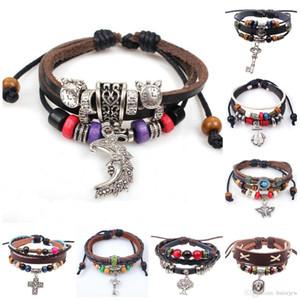 Leder-Armband für Frauen-Männer-Armbänder Hand gesponnene geflochtenen Seil-echtes Leder-Kette-Korn-Armband Unendlichkeit Armbänder