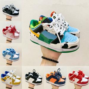 2020 Baja Pro Niños Niños Corte de aire Negro Casual Bebé Niños Dunk Niños Cuero Top Top Zapatos Tamaño 26-37