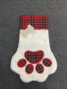 Büyük Kabarık Santa Çorap Noel Pet Köpek Ekose Paw Stocking Asılı Şömine Noel Ağacı Noel Dekorasyon DHF3489