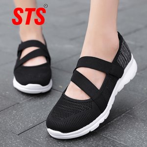 STS Women's Casual Shoes Women Flats Sneaker Shallow Casual Shoes Ladies Mesh Breathable Plus Size Ultra Light Velcro Trainers 201012