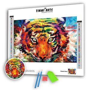 5D DIY Diamond Paintings Animales Kits Acuarela Tiger Imágenes Completas Ronda AB Taladro Bordado Rhinestones Mosaico Pegatinas de pared 201212