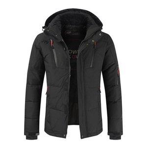 الشتاء الرجال Downjacket مقنع الصلبة كبيرة الحجم سميكة زيبر الدافئة الرياح واقية من عارضة الازياء الجودة ذكر معطف منتظم