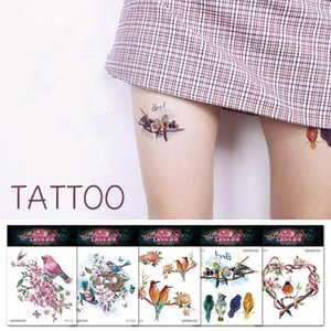 Floral And Birds Tattoo Stickers Diy Waterproof Water Transfer Temporary Art Tattoo Easy To Clean Outerdoor Party Birthday Body Arm Decor