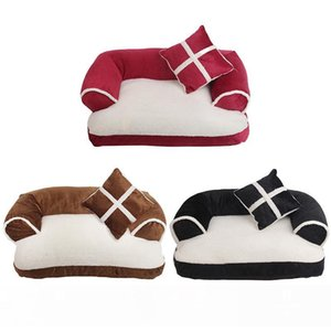 New Four seasons Pet Dog Sofa Beds With Pillow Detachable Wash Soft Fleece Cat Bed Warm Chihuahua Small Dog Bed