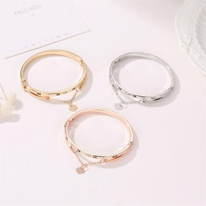 New Luxury Rose Gold Stainless Steel Bracelets Bangles Female Heart Forever Love Brand Charm Bracelet Women Famous Jewelry Gifts jllikF