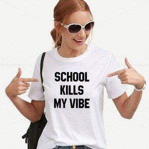 Escuela Enjoythespirit Muertes Mi Vibe mujeres de la camiseta de manga corta de verano Thin Solid Tops Mujeres casaul Minimalismo camiseta básica yd14 #