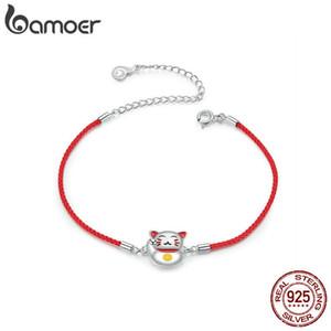 Bamoer Lucky Cat Cat Bracte для девочкой Регулируемая красная струна веревки браслеты браслеты стерлингового серебра 925 ювелирные изделия Bijoux BSB012 CX200612