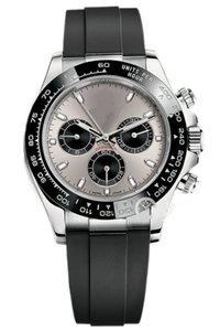 Relojes de acero inoxidable Multicolor Sapphire espejo de la alta calidad de los hombres de 40 mm Dial sintético de alto rendimiento correa de caucho impermeable reloj