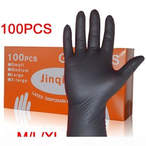 LESHP 100PCS SET Household Cleaning Washing Disposable Mechanic Gloves Black Nitrile Laboratory Nail Art Anti-Static Gloves D18110705