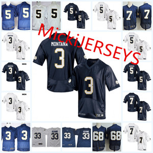 Mens NCAA ND # 3 Joe Montana Football Jersey # 68 Mike McGlinchey # 5 Manti Te'o # 7 Stephon Tuitt # 81 Tim Brown Jersey S-3XL