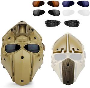 Casco táctico Protector de casco rápido Máscara de cara completa con parejas Visera Gafas para caza Paintball Ciclismo Airsoft CS Cosplay Película Prop