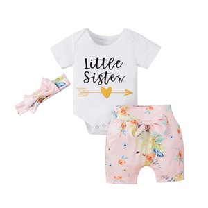 Produits de dégagement Bébé filles Vêtements Ensemble de tenues neuves à manches courtes Baby Baby Rompers Tops + Short imprimé