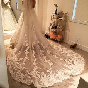 2021 Newest Designer Bridal Veils Cathedral Length Lace Appliques Long Wedding Veil Ivory White Tulle Veils With Free Comb Headdress AL8228