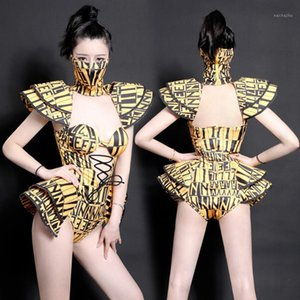 Impresión Body Jazz Dance Disfraces Bar DJ Bailarines Sexy NightClub DS Singer Rave Omithsuit Stage Wear Mask Chinese Folk Costume1