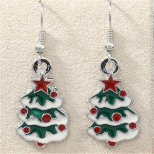 Green Enamel Christmas tree Earrings Silver Fish Ear Hook 10pairs lot Antique Silver Chandelier Jewelry 42x15mm . .