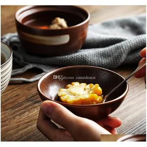 Zen spirit bol japonais avec couvercle pour la soupe de nouilles de riz vintage sous-allongée bols de céramique à la main stew tuture Jllvmn BDEefight
