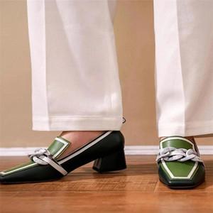 Mocasines de punta de la Punta de Mujeres Oxford Zapatillas Mocasines PU Cuero Tacones Altos Zapatos Contraste Tallo Tallo MUJER SQUILLA DE TOE # V76H