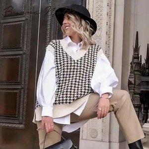 2020 Женщины Хаундстут жилет свитер Повседневный V образным вырезом без рукавов Осень Зима Перемычка Трикотажное корейского типа пуловер Сыпучие Tops