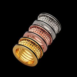 Europe America Fashion Men Women Lady Titanium steel Engraved B Letter Both Sides Black Enamel 18K Gold Lovers Ring Rings Size 6-9